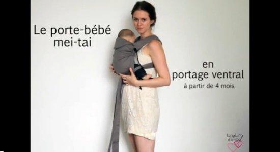 Vidéo MEI-TAI : réglages et utilisation en portage ventral avec les pans passant par-dessus les jambes de bébé