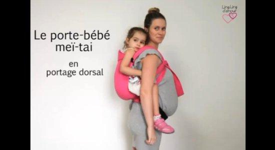 Vidéo MEI-TAI : portage dos mise au dos bambin + finitions nouages pour femme enceinte