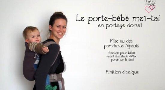 Vidéo MEI-TAI : portage dos mise au dos par-dessus l'épaule pour bébé ayant l'habitude